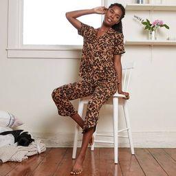 Women's Tortoise Print Beautifully Soft Short Sleeve Notch Collar Top and Crop Pajama Set -Stars ...   Target