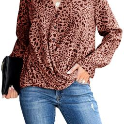 SySea Women's Casual Leopard Print Chiffon Shirts Turtle Neck Long Sleeve Curved Blouse Top | Amazon (US)
