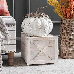 White Elegant Metal Pumpkin, 11 in.   Kirkland's Home