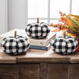 Small Black Buffalo Check Pumpkins, Set of 3   Kirkland's Home