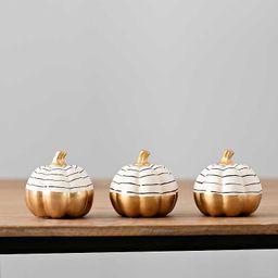 New!Gold and White Spiral Pumpkins, Set of 3   Kirkland's Home