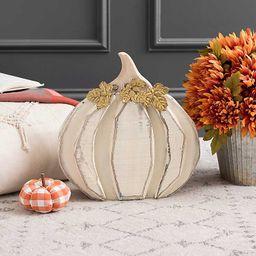 Cream Wood Pumpkin with Metal Leaves, 14 in.   Kirkland's Home
