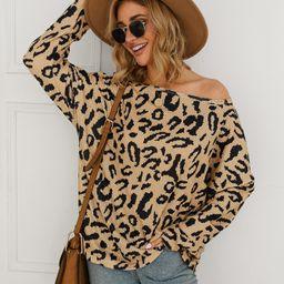 Leopard Print Popcorn Knit Oversized Top | SHEIN