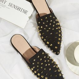 Spiked Decor Flat Mules | SHEIN