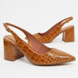 ASOS DESIGN Sammy slingback mid heels in tan croc   ASOS (Global)