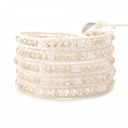 Crystal on White-Ivory Leather- Vegan   Victoria Emerson