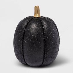 Halloween Large Black Leather Skull Embossed Fabric Halloween Decorative Pumpkin - Hyde & EEK! Bouti   Target