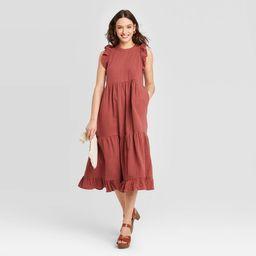 Women's Sleeveless Tiered Ruffle Dress - Universal Thread Burgundy S   Target