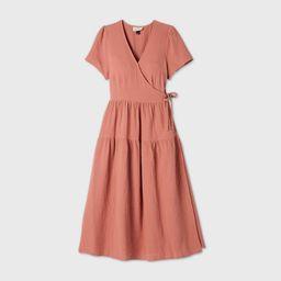 Women's Short Sleeve Wrap Dress - Universal Thread Light Brown S   Target