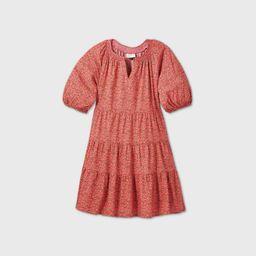 Women's Floral Print Puff Sleeve Tiered Babydoll Dress - Universal Thread Pink XL   Target