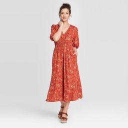 Women's Floral Print Puff Short Sleeve Dress - Universal Thread Red L   Target