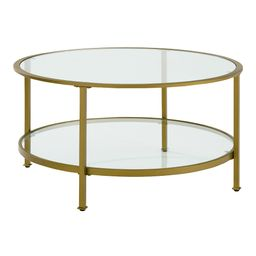 Round Milayan Coffee Table With Shelf: Gold - Glass by World Market | World Market