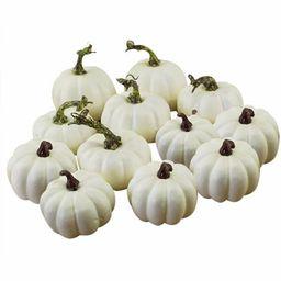 matoen 12pcs/set Halloween White Artificial Pumpkins Fall Thanksgiving Decor | Walmart (US)