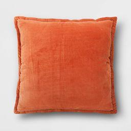 Oversized Square Velvet Reversed to Herringbone Pillow Orange - Threshold | Target