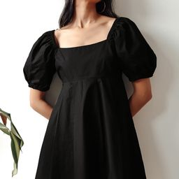Forever Trendy Black Puff Sleeve Babydoll Dress   Lulus (US)