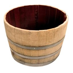 Master Garden Products Watertight 19 in. H x 27 in. W Half Oak Wine Barrel Planter, Natural | The Home Depot