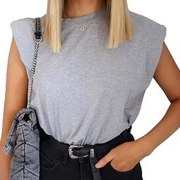 SAFRISIOR Women Loose Solid Shoulder Pads Sleeveless T-Shirt Casual Cotton Round Neck Tank Tee To... | Amazon (US)