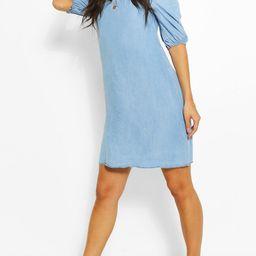 Womens Chambray Shirred Back Shift Dress - Blue - 6   Boohoo.com (US & CA)