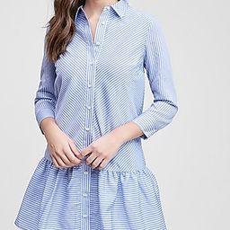 En Saison Striped Poplin Ruffle Shirt Dress | Express