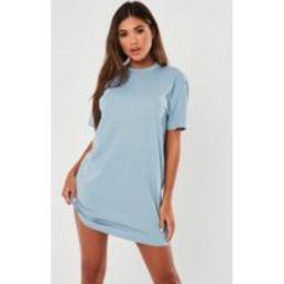 Blue Basic T Shirt Dress   Missguided (US & CA)