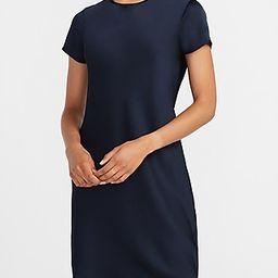 Satin Crew Neck T-Shirt Dress Blue Women's L   Express