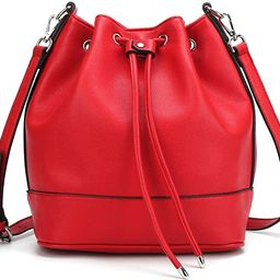 AFKOMST Drawstring Bucket Bag for Women,Over the Shoulder Purse and Hobo Handbags with 2 Shoulder... | Amazon (US)