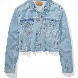 AE Cropped Denim Raw Hem Denim Jacket | American Eagle Outfitters (US & CA)