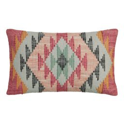 Multicolor Woven Rise Indoor Outdoor Patio Lumbar Pillow by World Market   World Market