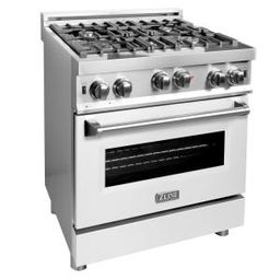 ZLINE 30 in. Professional Gas on Gas Range in Stainless Steel with White Matte Door (RG-WM-30) | The Home Depot