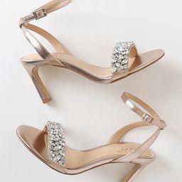 Baltimore Metallic Rose Gold Rhinestone Ankle Strap Heels   Lulus (US)