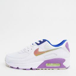 Nike Air Max 90 sneakers in white and purple | ASOS (Global)