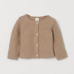 Garter-stitched cardigan in soft cotton with long sleeves. Buttons at front. | H&M (US)
