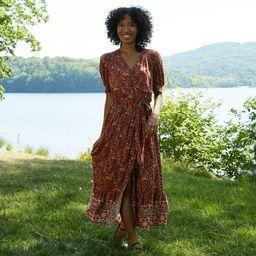 Women's Paisley Print Puff Short Sleeve Wrap Dress - Knox Rose™ Rust   Target