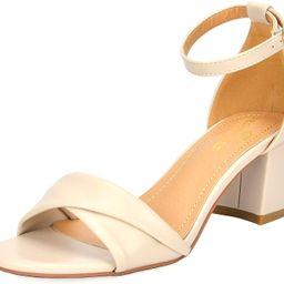 DREAM PAIRS Women's Fashion Block Ankle Strap Heeled Sandals | Amazon (US)