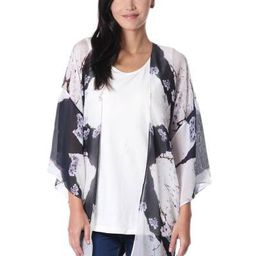 Black and White Open Front Floral Kimono Jacket from India   NOVICA