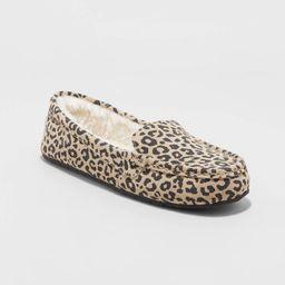 Women's Gemma Leopard Genuine Suede Moccasin Slipper - Stars Above™ Brown   Target