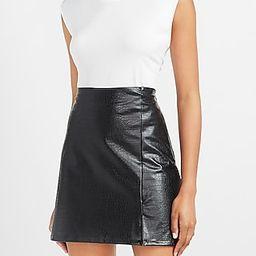 High Waisted Textured Vegan Leather A-Line Mini Skirt | Express