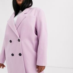 ASOS DESIGN Curve hero longline double breasted maxi coat in lilac   ASOS (Global)