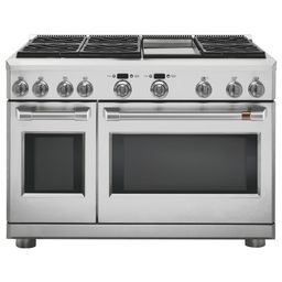 Cafe 48 in. 8.25 cu. ft. Double Oven Dual Fuel Range with 6 Burners and Griddle in Stainless Stee...   The Home Depot