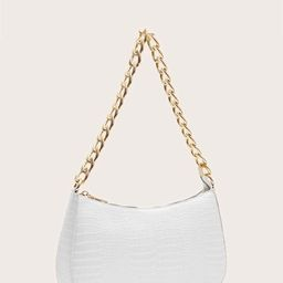 Croc Embossed Baguette Bag | SHEIN