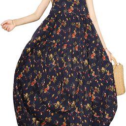 YESNO Women Casual Loose Bohemian Floral Print Dresses Spaghetti Strap Long Maxi Summer Beach Swi...   Amazon (US)