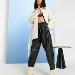 ASOS DESIGN tapered leather look trousers   ASOS (Global)