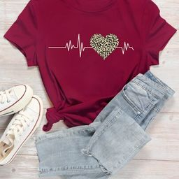 Heart And Leopard Print Short Sleeve Tee   SHEIN