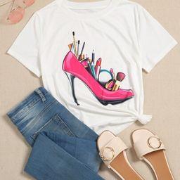 Cosmetic And High Heels Print Tee   SHEIN
