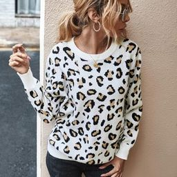 Leopard Print Cut Out Back Sweater   SHEIN