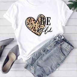 Heart & Slogan Graphic Tee   SHEIN