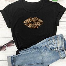 Leopard Lipstick Print Short Sleeve Tee   SHEIN