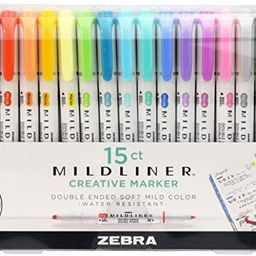 Zebra Pen Mildliner, Double Ended Highlighter, Broad and Fine Tips, Assorted Colors, 15 Pack | Amazon (US)