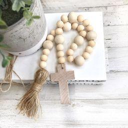 Wood Bead Garland, Farmhouse Beads, Wooden Cross, Tired Tray Decor | Etsy (US)