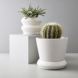 Totem Tabletop Indoor/Outdoor Planters - White Leather | West Elm (US)